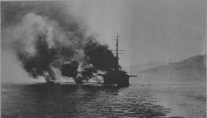 Линкор «Мирабо» обстреливает Афины в 1916 г.